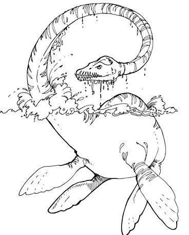 Elasmosaurus Plesiosaur Dinosaurs Coloring Page