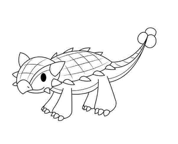 Elegant Baby Ankylosaurus Coloring Page