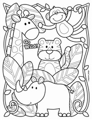 Elephant And Friends Coloring Page