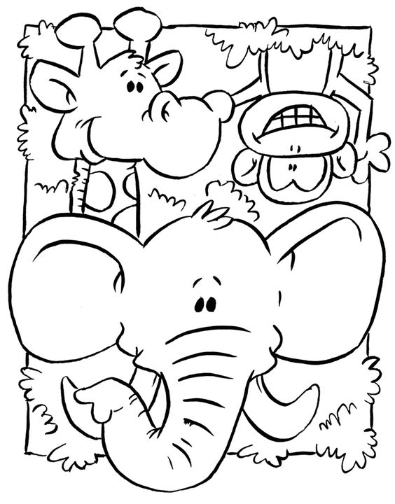 Elephant And Other Animals Coloring Page