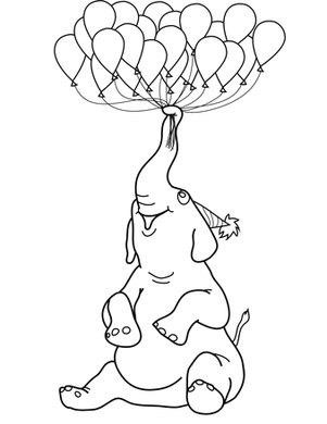 Elephant with Balloons Happy Birthday Coloring Page