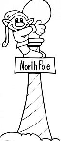 Elf on Light Pole of North Pole Sign and Light