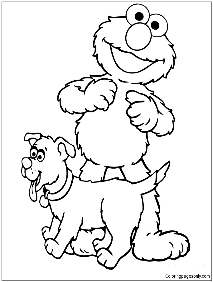 Elmo With Puppy Coloring Pages - Puppy Coloring Pages - Free Printable  Coloring Pages Online