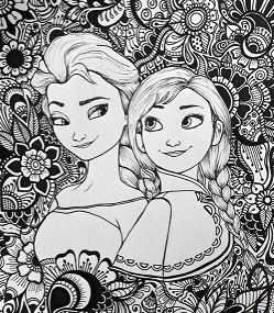 Elsa And Anna Design Coloring Page