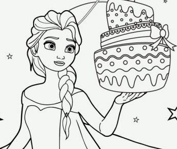 Elsa And Birthday Cake Coloring Page