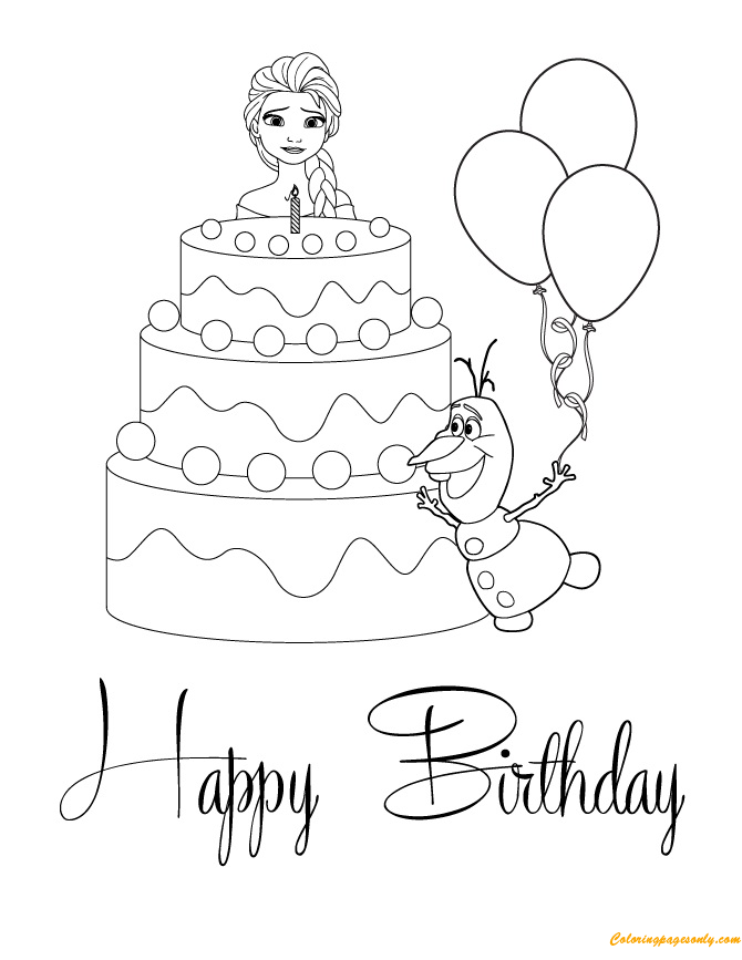 Elsa And Olaf With Cake Happy Birthday Coloring Page ...