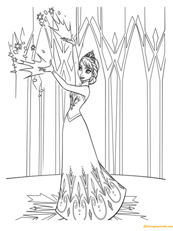 elsa begins a new life in the mountain coloring page
