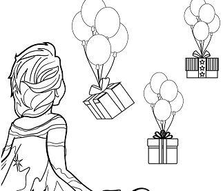 Elsa Looking At Balloons And Presents Coloring Page
