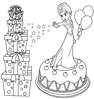 Elsa On Cake Coloring Page
