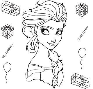 Elsa Portrait Coloring Page