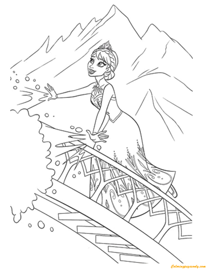Elsa Using Her Ice Powers Coloring Page