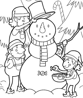 Elves Building A Snowman For Christmas Coloring Page