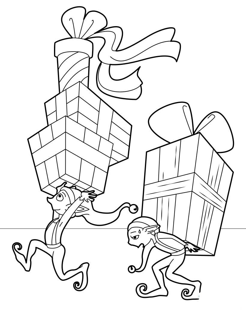 Elves Delivering Presents Coloring Page
