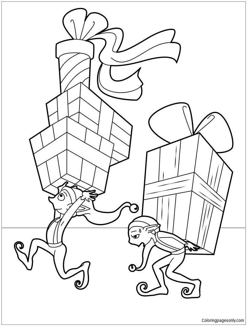 Elves Distributing Gifts Coloring Page