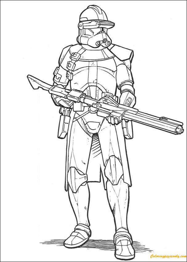 Emperor Clone Soldier With A Gun Coloring Page