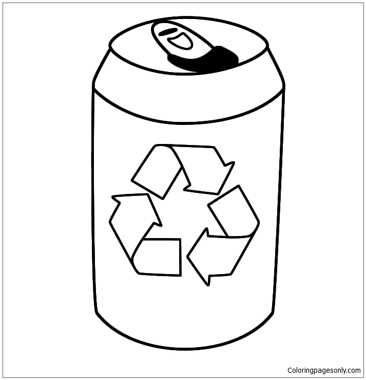 Empty Drink Tin And The Recycling Symbol Coloring Page Free