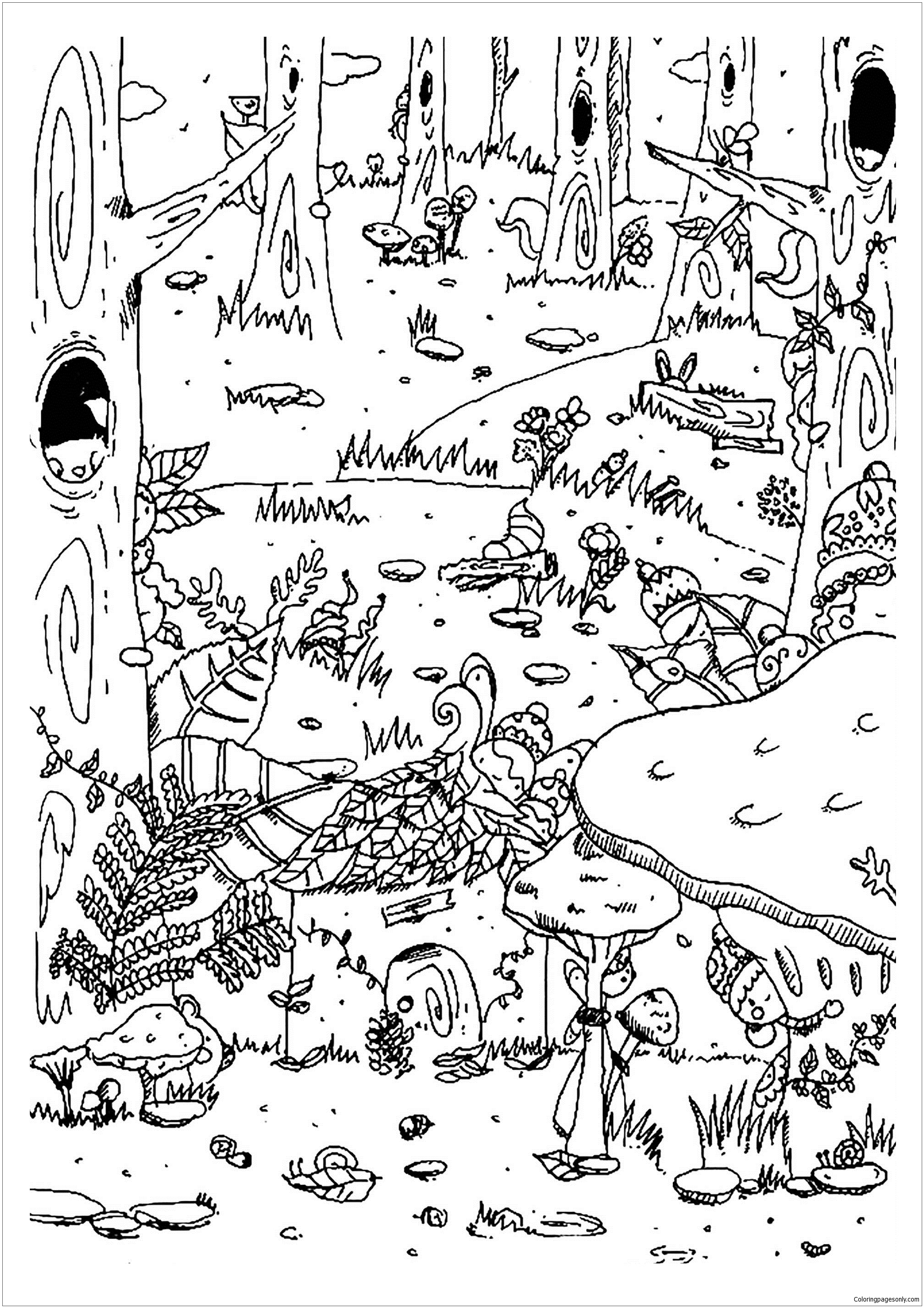 Enchanted forest Coloring Page - Free Coloring Pages Online