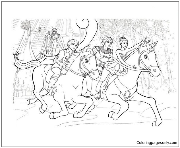 Enchanted Horses Flight Coloring Page