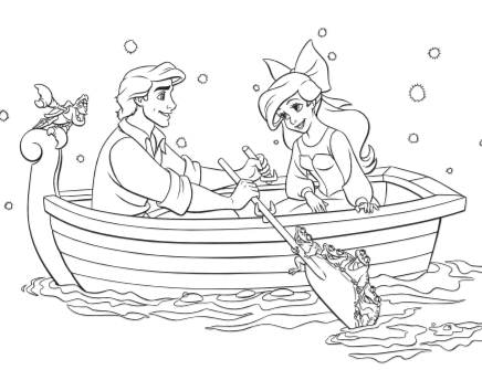 Eric and Ariel Coloring Page