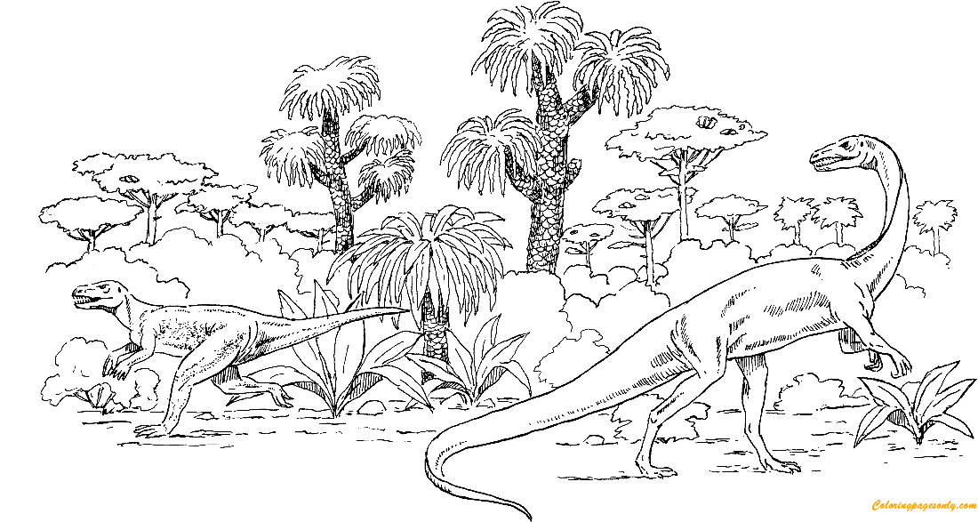 Euparkeria And Coelophysis Coloring Page
