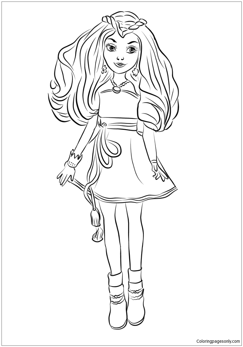 Evie From Descendants Wicked World Coloring Page Free