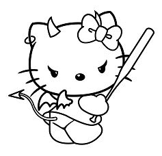 Evil Hello Kitty Coloring Page