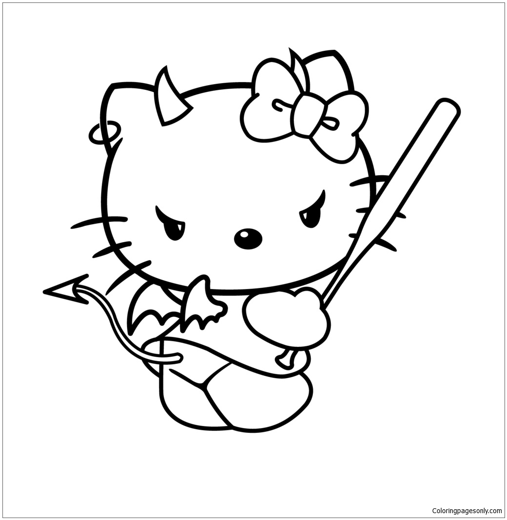 Evil Hello Kitty Coloring Page - Free Coloring Pages Online