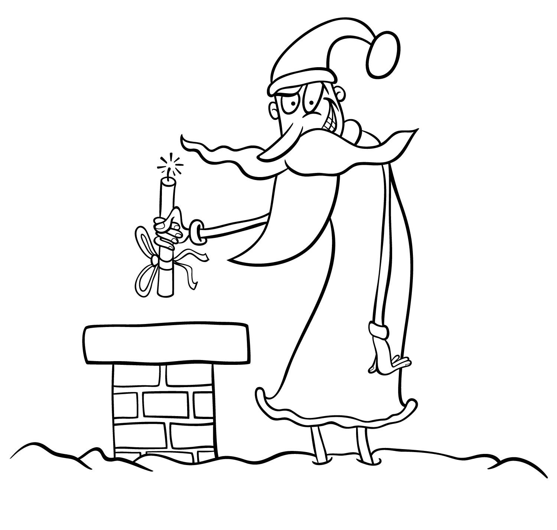 Evil Santa Offer Dynamite Stick Coloring Page