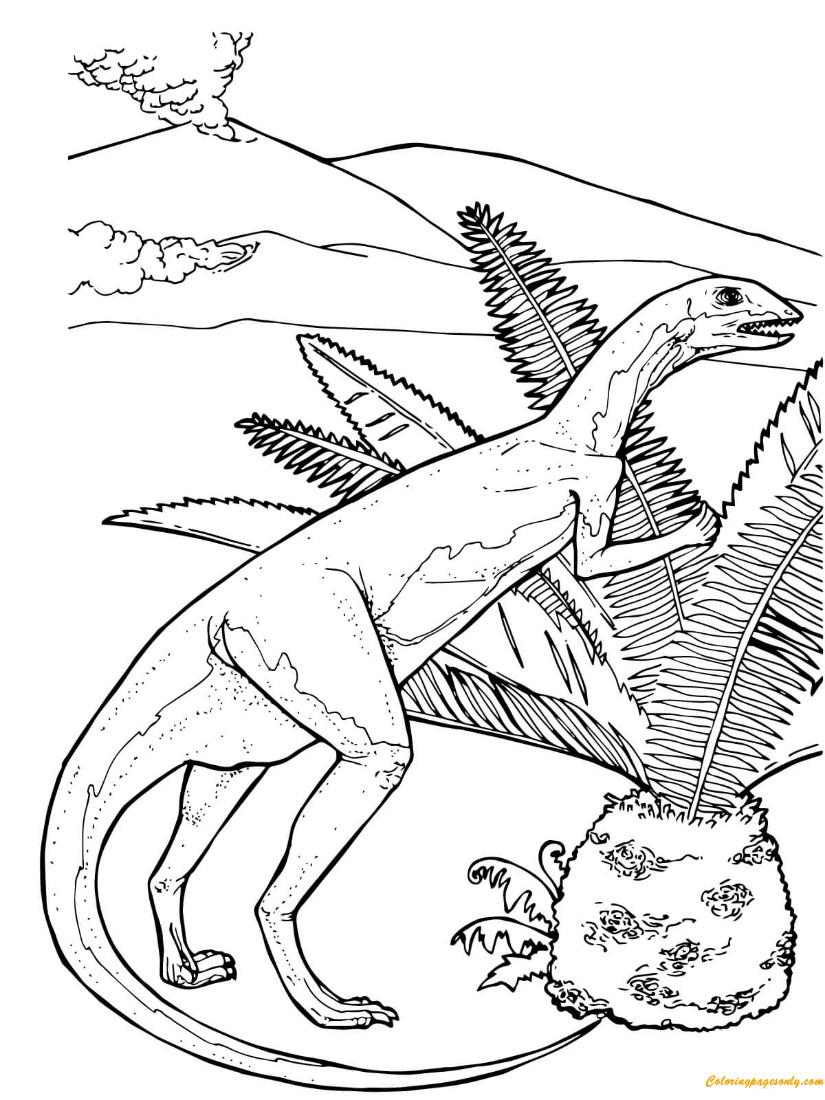 Fabrosaurus Herbivorous Jurassic Dinosaur Coloring Page