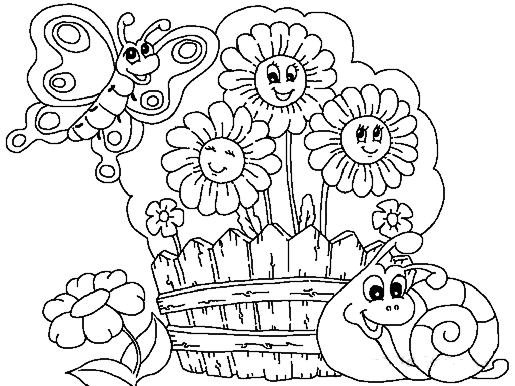 Boy watering plants on patio flowers in the garden for Flower garden coloring pages printable