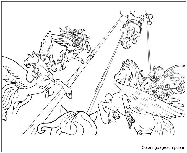 Fairies Ride Winged Horses Coloring Page Free Coloring