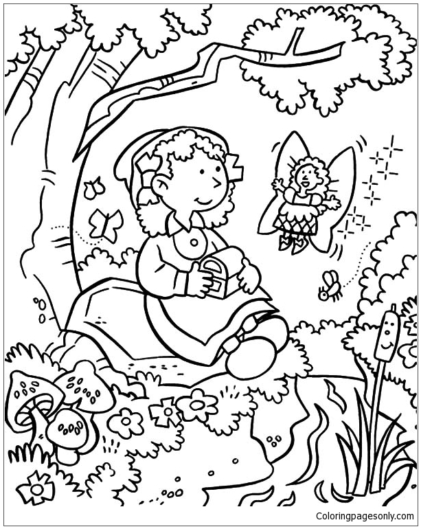 coloring pages flower garden - fairy give treasure chest in garden coloring page free