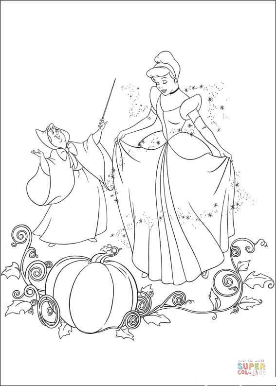 Fairy Helps Cinderella  From Cinderella Coloring Page