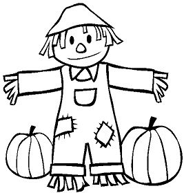 Fall Scarecrow and Pumpkins