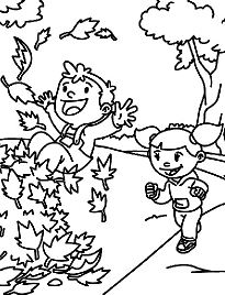 Fall Time Fun Of The Children Coloring Page