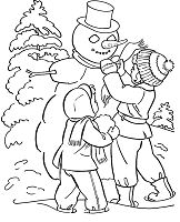 Familly Forest Snowman Winter Coloring Page