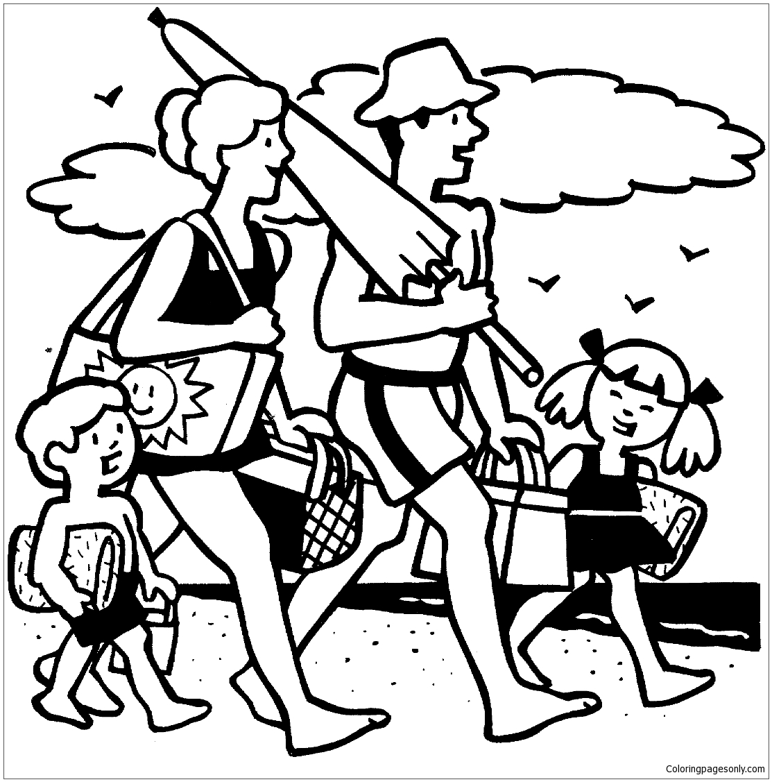 Family Beach Picnic Coloring Page Free Coloring Pages Online