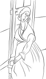 Famous painting by Amedeo Modigliani - Jeanne Hebuterne in Front of a Door Coloring Page