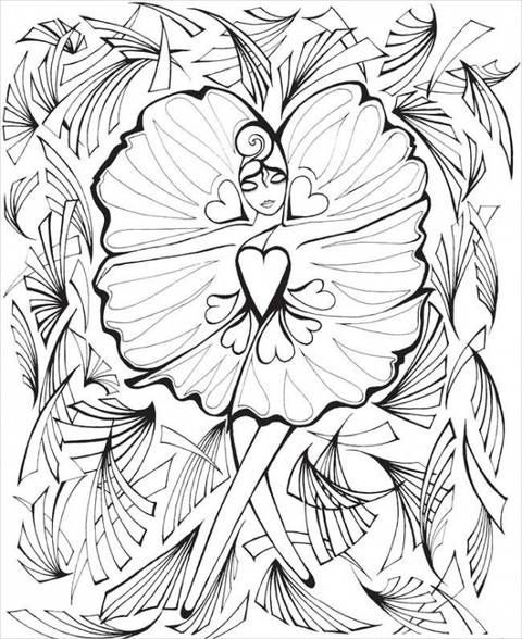 Fanciful Faces Coloring Page