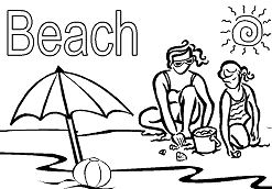 Fancy Beach Coloring Page