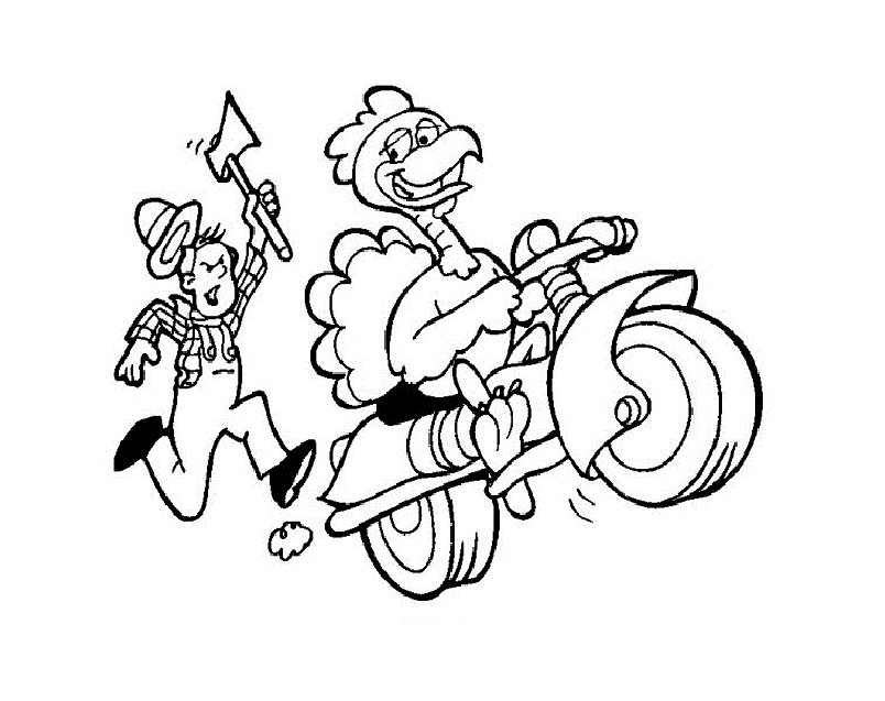 Farmer and Turkey Coloring Page