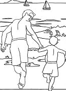 Father and Son Beach Scene