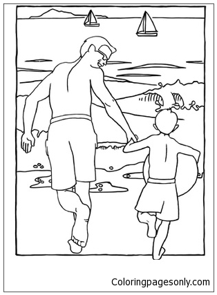 Father And Son Beach Scene Coloring Page