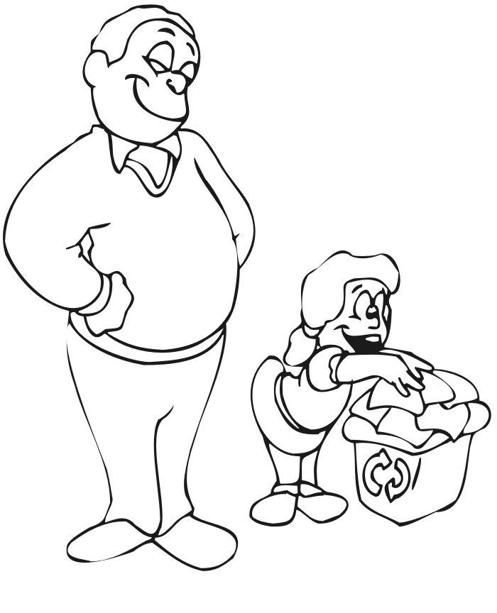 Father teaches her daughter put trash in the recycle bin Coloring Page