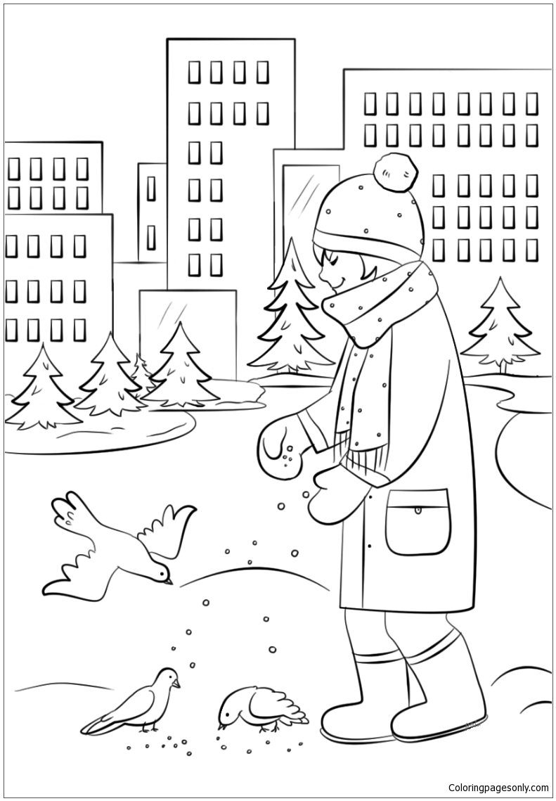 Feeding Birds in Winter Coloring Page - Free Coloring Pages Online