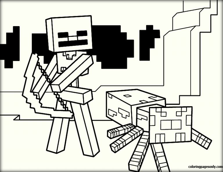 Fight Minecraft Coloring Page