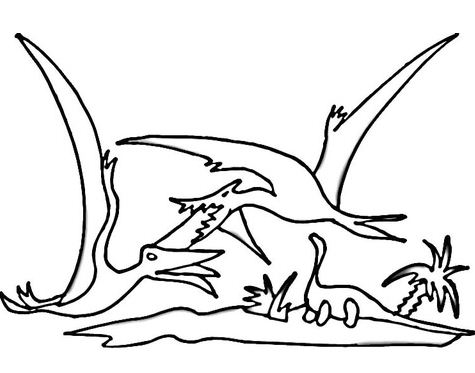 Fight Of Pterodactyls Coloring Page
