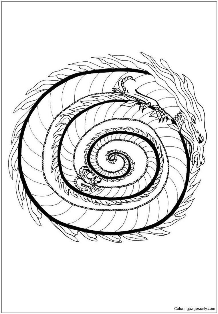 Fire Dragon Mandala Coloring Page Free Coloring Pages Online