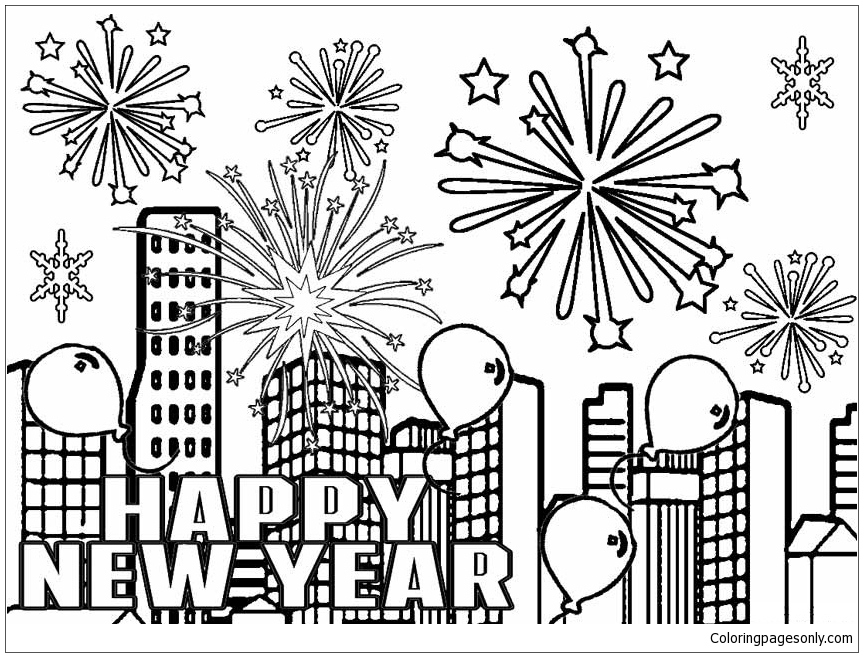Fireworks And Balloons In The City Into The New Year Coloring Page