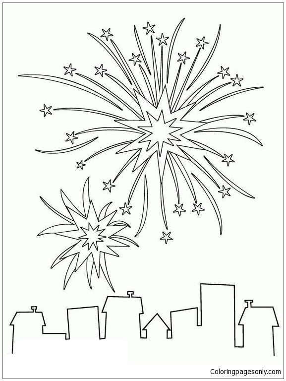 Fireworks For New Year In City Coloring Page
